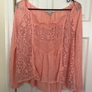 Lace salmon color top! Gorgeous and flowy. Size S!